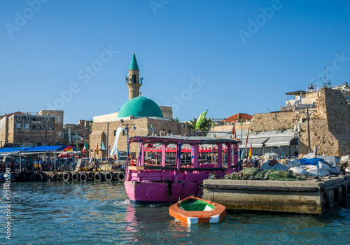 Acre, Israel - October 27, 2018 : Port of acre and Sinan Pasha Mosque Canvas Print