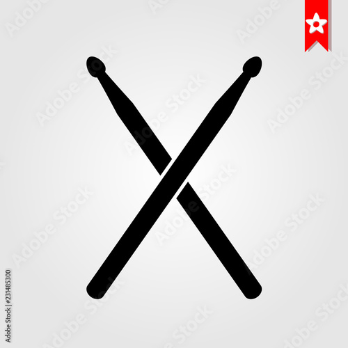 Fotomural  drum sticks icon in black style isolated on white background