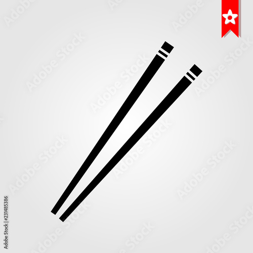 Fotografie, Obraz  restaurant chopsticks icon in black style isolated on white background