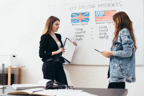 Fotografía English language school. Lesson, teacher and student talking.