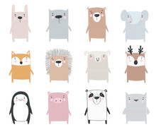 Vector Collection Of Cute Animals. Doodle Illustration. Winter Holidays, Baby Shower, Birthday, Children's Party.