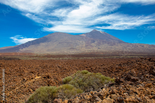 View of beautiful volcano Teide in summer
