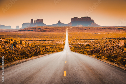 Canvas Prints American Famous Place Classic highway view in Monument Valley at sunset, USA