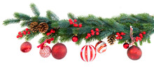 Christmas Garland With Red Balls, Cones And Berries On Isolated White Background
