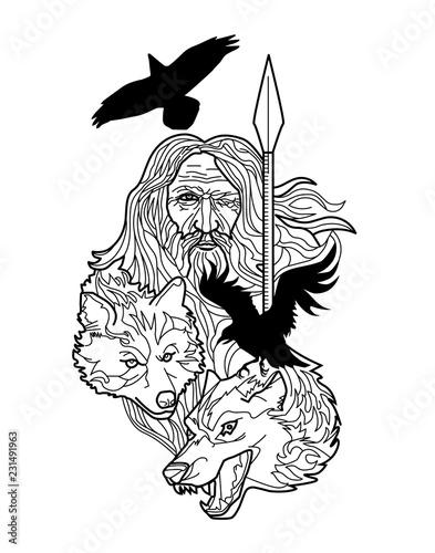 Photo  Odin All father Logo Emblem