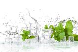 Fototapeta Fototapety do łazienki - ice cubes and splashing water with mint on a white background