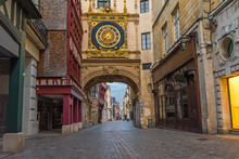 Old Cozy Street In Rouen With Famos Great Clocks Or Gros Horloge Of Rouen, Normandy, France