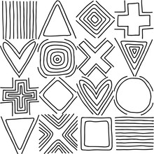 Geometric Vector Seamless Pattern With Different Geometrical Hand Drawn Forms. Square, Triangle, Rectangle, Dots, Circles. Modern Techno Design. Abstract Background. Graphic Black  White Illustration