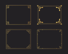 Set Of Golden Vintage Borders. Gold Rectangular Hand Drawn Swirl Frames. Vector Isolated Flourish Design Elements.