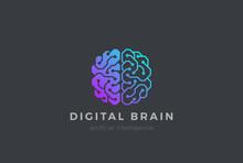 Brain Artificial Intelligence Logo Design Vector. AI Brainstorm
