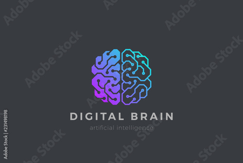 Foto Brain Artificial Intelligence Logo design vector. AI Brainstorm