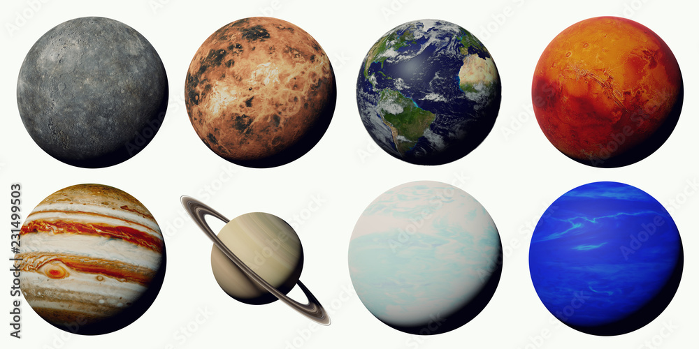 Fototapety, obrazy: the planets of the solar system isolated on white background