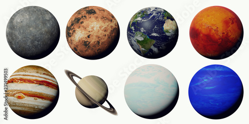 Obraz the planets of the solar system isolated on white background - fototapety do salonu