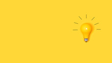 Idea Light Bulb On A Vivid Yel...