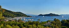 Panoramic View Of Bay And City Of Gocek - Fethiye, Turkey With Marina And Yachts.