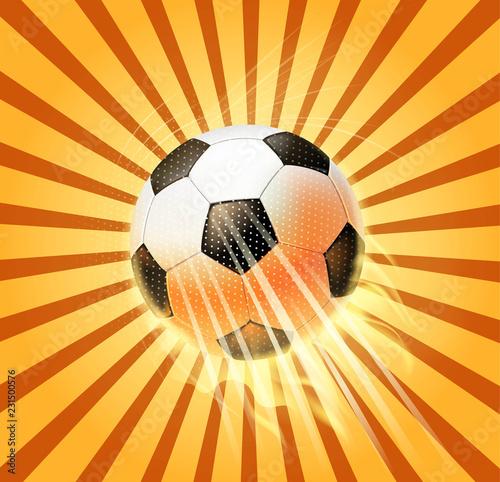 Fotografiet  retro soccer ball fire
