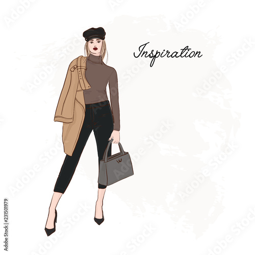Girl in trendy cap, coat, pants and sweater sketch. Business model runaway poster. Hand drawn girl in glamour street clothes. Fashion illustration