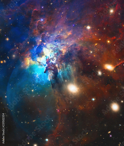 Photo Deep Space Cosmic Chaos, Galaxies, Stars, Nebula Abstract Art Created Using Auth