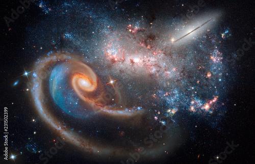 Fotografie, Obraz Deep Space Cosmic Chaos, Galaxies, Stars, Nebula Abstract Art Created Using Auth