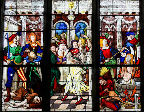 Fotografía Stained Glass of the Beheading of St John the Baptist and the Dance of Salome