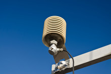 Temperature Sensor In A Meteo Station On A Blue Sky