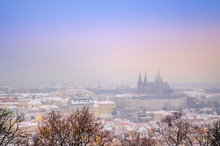 Panorama From The Air Of The Wintering European City At Sunset, Prague. Czech