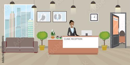Modern medical clinic reception interior with furniture. Fototapeta