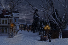 Victorian Man Selling Chestnuts In Village At Christmas