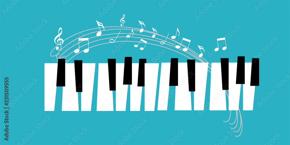 Fototapeta Piano icon and keys of piano concept modern music print and web design  poster on white vector illustration