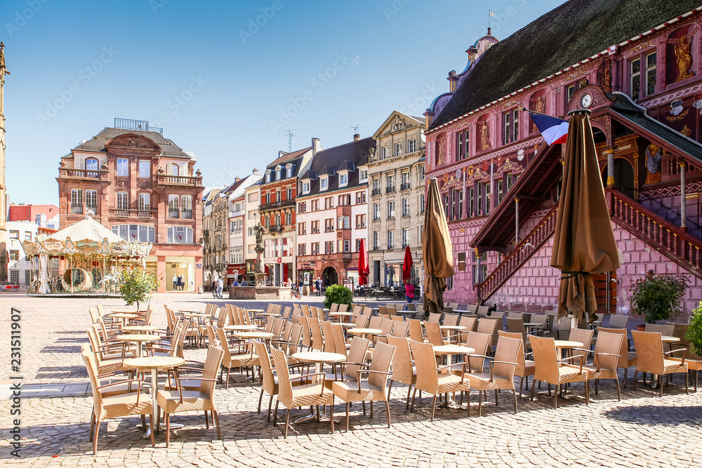 Fototapeta Central square of the village of Mulhouse, with the cathedral and the town hall