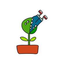 Man Eating Plant Illustration Forprints Posters And T Shirt Design