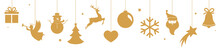 Christmas Banner With Hanging Golden Decorations