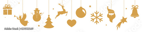Foto op Plexiglas Bol Christmas banner with hanging golden decorations