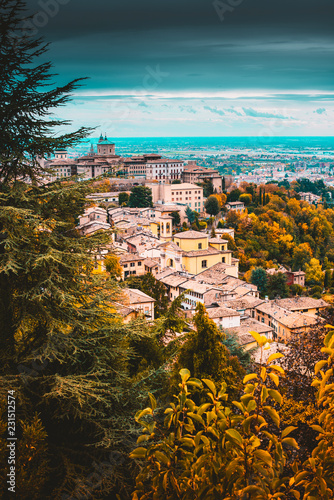 Poster Centraal Europa beautiful cityscape fall season - Bergamo old town - italy travel destination