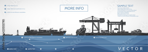 Container ship sailing to the pier, gantry and loaders cranes, vector infographics.