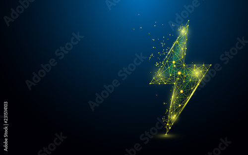 Foto Lighting bolt form lines, triangles and particle style design