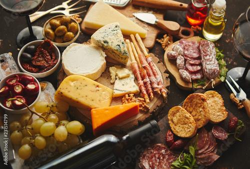 Photo  Huge assortment of various tasety spanish, french or italian apertizers