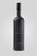 Closed Matt Black Bottle Of Vodka On White Background With Shadow