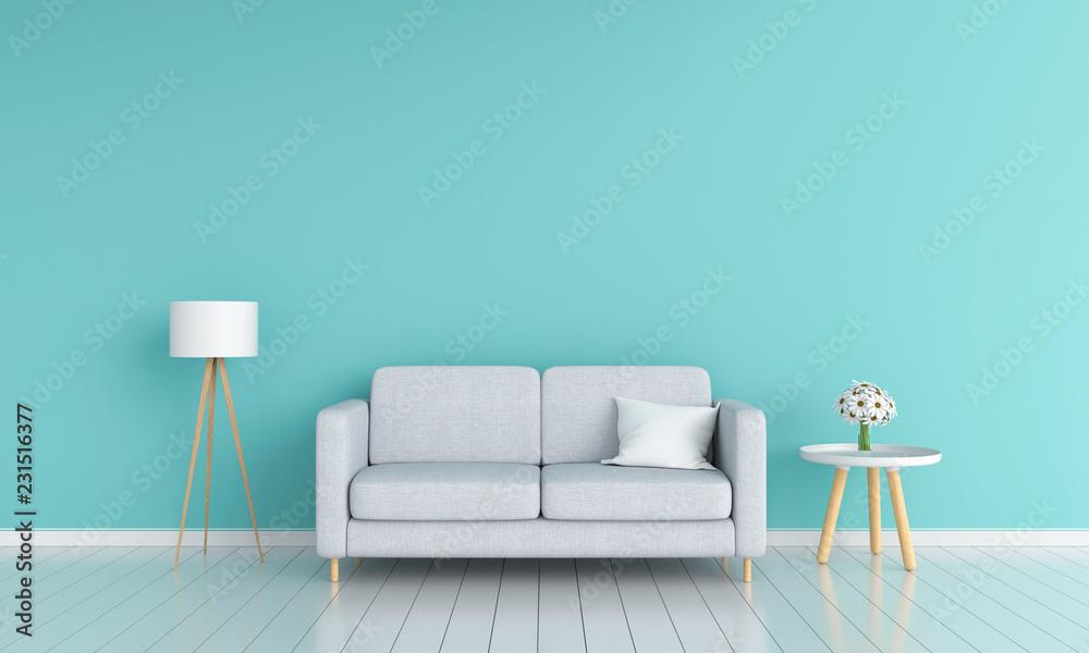 Fototapety, obrazy: Gray sofa in living room for mockup, 3D rendering