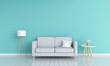 Leinwandbild Motiv Gray sofa in living room for mockup, 3D rendering