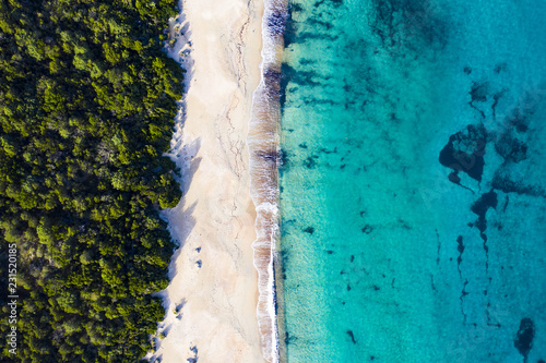 Photo  Aerial view of an amazing wild beach bathed by a transparent and turquoise sea