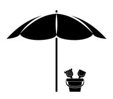 Beach Umbrella And Sand Bucket