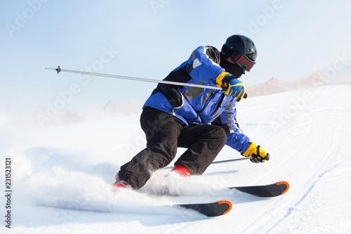 Garden Poster Winter sports skier in mountains
