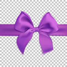 Realistic Purple Bow Isolated On Transparent Background. Template For Brochure Or Greeting Card. Vector Illustration.