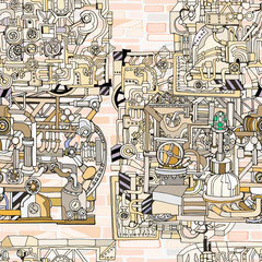 Vector seamless pattern with abstract technology, industry or steampunk background. Fantasy technology or factory illustration with decorative machine sketch elements.  Hand drawn.