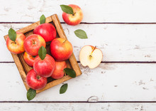 Healthy Red Organic Healthy Apples In Vintage Box On Wooden Background.
