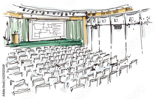 Illustration of auditorium Wallpaper Mural