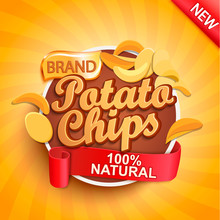 Potato Chips On Gold Sunburst Background.100 Percent Natural, Organic And Fresh Healthy Food. Perfect Template For Brand,flyers, Web,posters And Ad,promotions,marketing,packaging.Vector Illustration