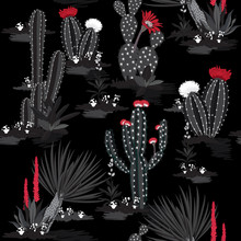 Monotone Black And Grey Seamless Pattern Vector Summer Cactus On Desert Mix With Beautiful Red Blooming Succulents Flower For Fashion Fabric And All Prints