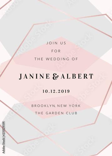 Modern Geometric Design Wedding Invitation Template Wallpaper Mural